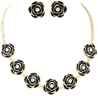 Midnight Black /'Summer Shapes/' Necklace /& Drop Earrings Set In Matte Silver