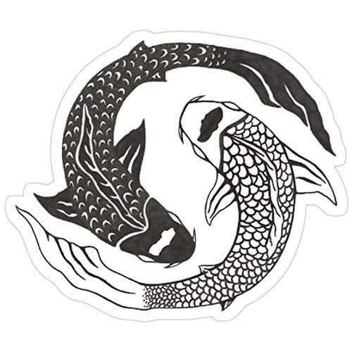 Vijk kor Ying Yang Koi Fischaufkleber, 3 Stück