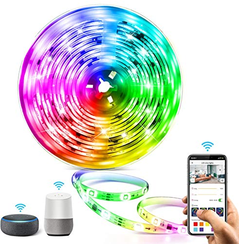 5M WIFI Tira LED RGB Aerb, Luces LED Smart de 16 millones de colores, Sincroniza con la Música, Control de voz, Program Persanalizado, Compatibles con Alexa y Google Assitant, Echo, Para Decoración