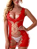 FasiCat Sexy Lingerie for Women Fishnet Halter Chemise Deep V Hot Mesh Mini Dress Bodysuit Red