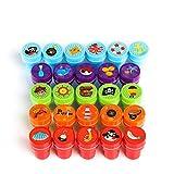 Kesote Conjunto de Sellos para Niños Estilo Pirata Sellos Plásticos Multicolores Auto Entintado Bricolaje (Juego de 26 Piezas)
