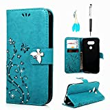MOLLYCOOCLE LG G5 Wallet Case, PU Leather Bling Crystal Diamonds Butterfly...