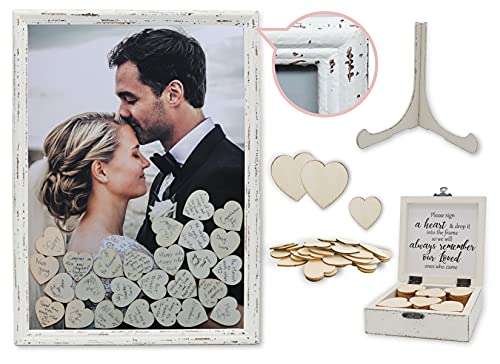 PMPX Wedding Guest Book Alternative Vintage Drop Top Frame with Stand  80 Wood Hearts  Matching Box with Message Inside The Lid. Weddings  Bridal or Baby Shower  Anniversary  or Special Event.