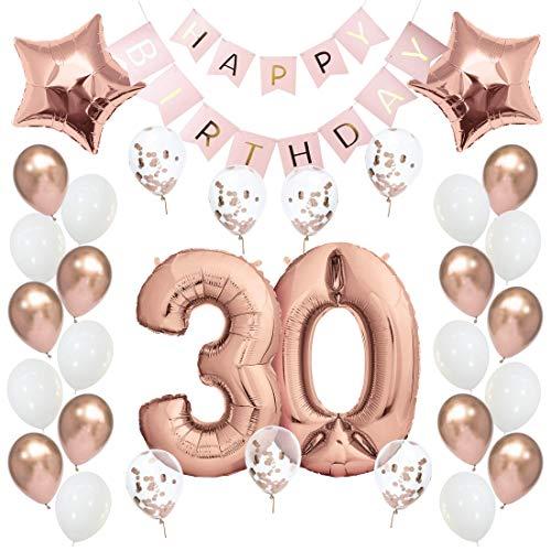 Geburtstagsdeko 30 Rosegold Geburtstag Deko I 30. Geburtstag Mädchen Frauen I Party Deko Luftballons 30 Geburtstag I Happy Birthday Girlande Ballons I Birthday Decorations I Geburtstag Frau Rosé-Gold