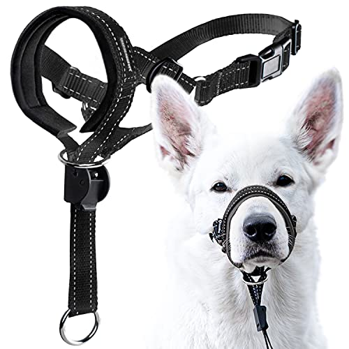 GoodBoy Dog Head Halter with Safety Strap - Stops Heavy Pulling On The Leash - Padded Headcollar for Small Medium and Large Dog Sizes - Head Collar Training Guide Included (Size 4, Black)