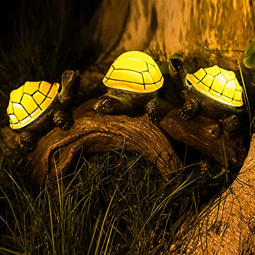 Solar Garden Turtle Statues Light, Outdoor Solar Turtles Decor with 3 Warm LED Lights, Waterproof Figurine Animal Light for Lawn Patio Backyard