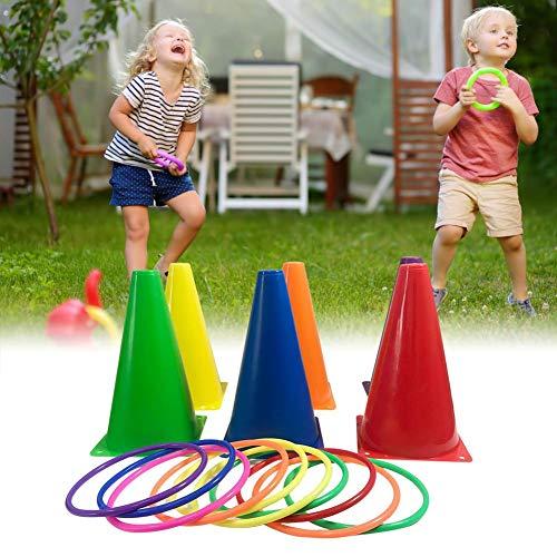 Gravere Outdoor-Spiele für Kinder, Zubehör für Outdoor-Spiele Kunststoffkegel-Set, 16-teiliges Set, Ringwurfspiel für Erwachsene und Familien, lustige Kinderspiele oder Outdoor-Spielzeug für Physical