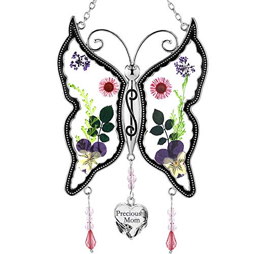 Precious Mom Butterfly SunCatchers Gifts Stained Glass Mother Butterfly Sun Catcher Wind Chime for Windows Mom Happy Mother`s Day Valentines Day Birthday Christmas Thanksgiving Gift