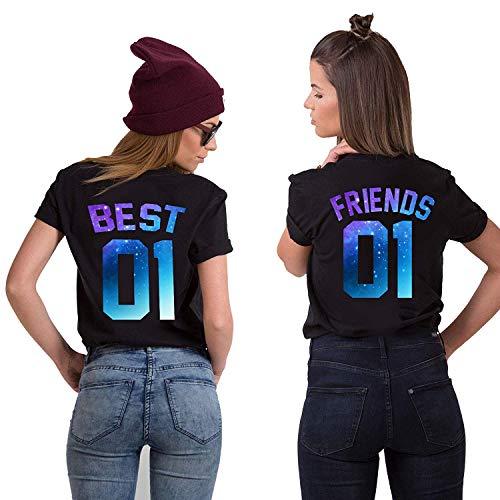 Mixcept Best Friends T-Shirts für Zwei Damen Mädchen, Baumwolle Sommer Oberteile Tops mit Aufdruck Best Friends 01 Frau Tshirt, 2 Stücke Basic Tops Symbolische Freundschaft