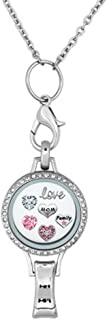 DemiJewelry Womens Office Lanyard ID Badges Holder Necklace with Love Mom Family Floating Charms Locket Pendant Clip