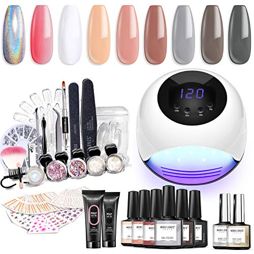 Modelones Gel Nail Polish Starter Kit with UV Light,84W UV/LED Nail Lamp,Soak off Poly Nail Gel,Glitter Powder Manicure Tools,6 Color Gel Polish 10ml