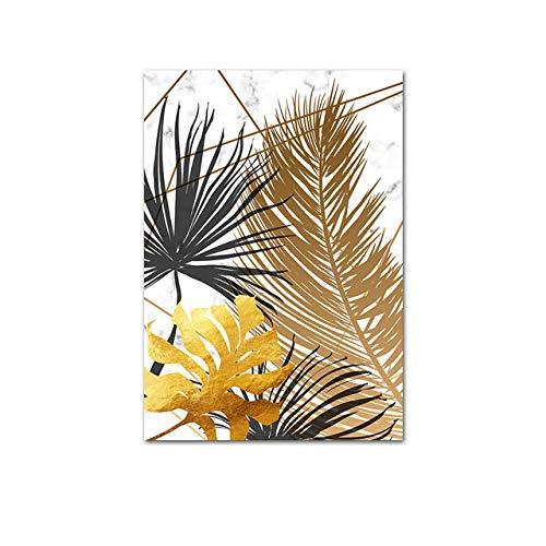 Preisvergleich Produktbild WSWWYWandkunst Bild Marmor Goldfolie abstrakte Plakat nordischen Stil botanischen Leinwanddruck Moderne Malerei Dekoration A 30x40cm No Frame