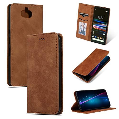 GoodcAcy Hülle Kompatibel mit Sony Xperia 10 Plus with[Panzerglas Schutzfolie] Premium Leder Flip Case Schutzhülle Handy Lederhülle Tasche Klapphülle für Sony Xperia 10 Plus Brown