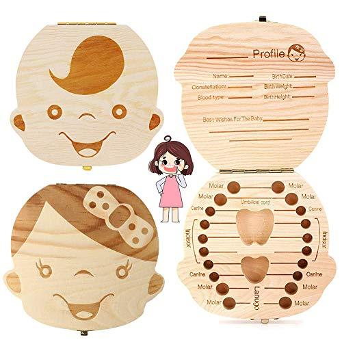 texto bebé dientes caja, NALCY 2 Paquete save cajas de madera personalizada caja de recuerdos de hoja caduca, personalizar personalizada bebé dientes caja( Niña,Chico. )