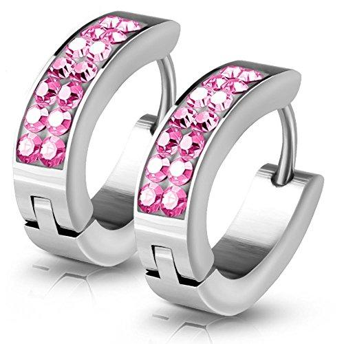 Kristall-Creolen von Bungsa | Hochwertige Damen-Ohrringe Pink | Edelstahl-Creolen für den perfekten Auftritt | Creolen-Pink