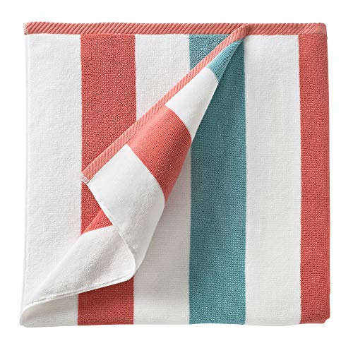 """Cabana Beach Towel by Laguna Beach Textile Co, Oversized Coral and Sea Glass Summer Sunbathing and Pool Side Lounge Comfort, Plush Cotton Softness with Colorful Stripes, Large 70"""" x 35"""""""