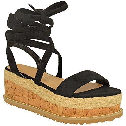 Fashion Thirsty Donna Sughero Forma Piatta Espadrille Sandali con Zeppa Alla Caviglia da Allacciare Scarpe Numeri - Nera Pelle Scamosciata, 39