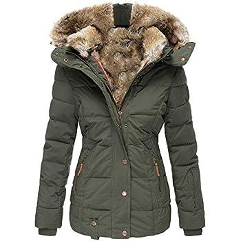 Koodred Women s Winter Warm Outwear Overcoat Hooded Faux Fur Lined Down Jacket Puffer Coat Army Green
