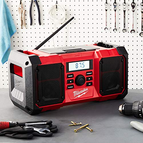 Milwaukee 2890-20 18V Dual Chemistry M18 Jobsite Radio with Shock Absorbing End Caps, USB 2.1A Smartphone Charging