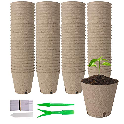"""YBCPACK 100 Pcs 8cm(3.15"""") Biodegradable Fibre Seed Pots With 100 Pcs White Plastic Plant labels, Seed Trays with A Set Of Transplanting Digging Tools For House Plants,Seedling, Herb, Flowers"""