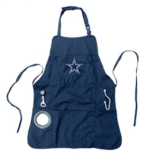 Team Sports America NFL Dallas Cowboys Ultimate Grilling Apron Durable Cotton with Beverage Opener and Multi Tool For Football Fans Fathers Day and More