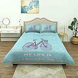 Funda nórdica, Bicicleta Retro en Colores Pastel con Canasta y Texto My Life is Beautiful Ride, Juego de Cama de Lujo, Microfibra Ligera y cómoda
