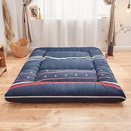 GONGFF Tatami Mattress 3 Inch Thick Futon Mattress Cotton Mattress King Queen To Bed, Floor (Color : Blue, Size : 90x200cm)