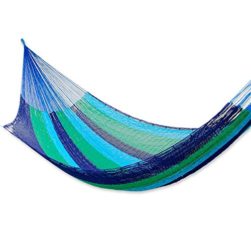 NOVICA Green Bright Blue Navy Striped Cotton Hand Woven Mayan Rope 2 Person XL Hammock, Ocean Dreams' (Double)