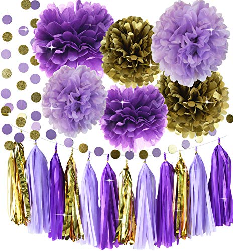 Qian's Party Purple Lavender Glitter Gold Baby Shower Tissue Paper Pom Pom Paper Tassel Garland First Birthday Decorations Purple Bridal Shower Decorations Snow or Sea Theme Party Decor
