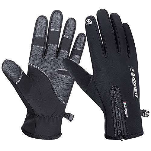 coskefy Fahrradhandschuhe Männer Handschuhe Winter Sport Touchscreen Motorrad Damen Gefüttert Laufhandschuhe Winddicht mit Reißverschluss...