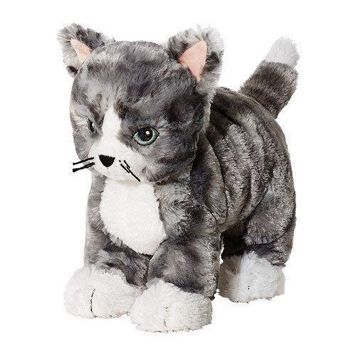 IKEA LILLEPLUTT - Stofftier, Katze, grau, weiß - 21 cm