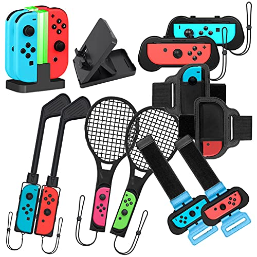 Kit de accesorios 14 en 1 para Nintendo Switch compatible con Joy-Con - Incluye raquetas de tenis + barras de golf + muñequeras + correa para las piernas + base de carga + soporte de reproducción