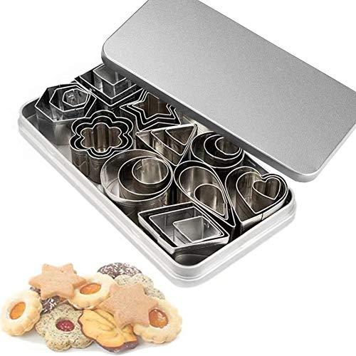 Mini juego de cortadores de galletas, 30 moldes pequeños para cortar masa de hojaldre, corteza de tarta y frutas, cortador de formas geométricas de sellos metálicos