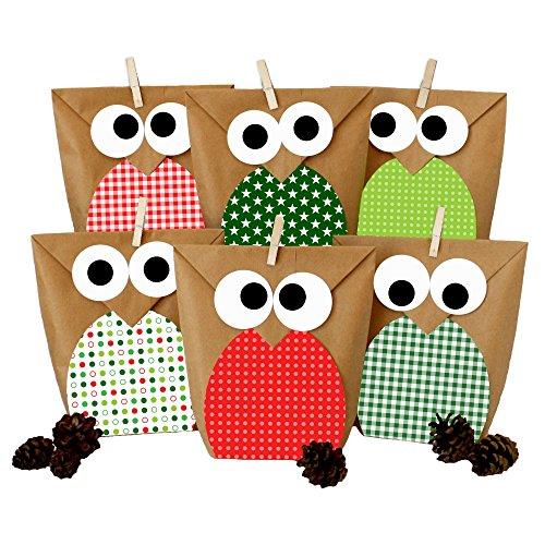 DIY Geschenktüten Set - Eulen rot - Mitgebsel für Kindergeburtstag - zum selber Basteln und Befüllen - von Papierdrachen