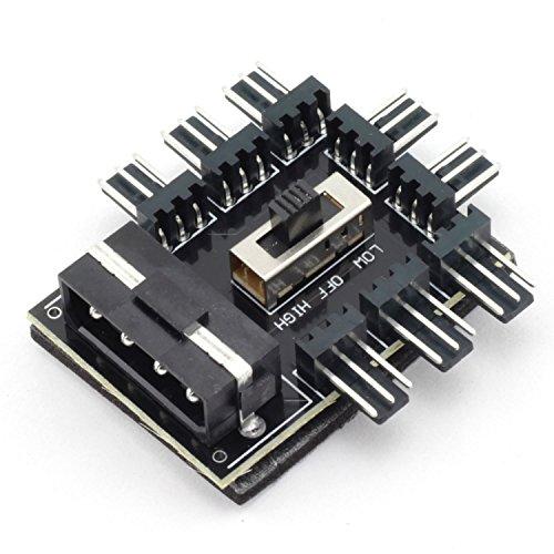 ZRM&E PC Fan Speed Controller 8 Way Cooling Fan Hub 3 Gear Speed IDE Molex 1 to 8 Multi Way Splitter 3-Pin Power Socket PCB Adapter
