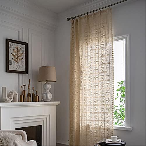 FACWAWF Translucent Retro Hollow Curtains Bohemia Style American Country Living Room Bedroom Balcony Study Semi-Blackout Curtains 200x260cm(WxH) 1pcs
