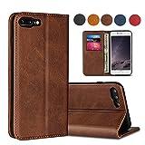 SailorTech iPhone 7/8 Plus Wallet Case, Luxury Genuine Leather Folio Flip Cases Cover with Kickstand Card Slots Holder Dark Saddle Brown