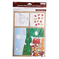 Kids Thanksgiving Activity Placemats with Stickers