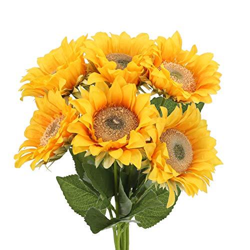 NAHUAA 6PCS Flores Artificiales Ramo de Seda Girasol Artificial Flores Amarillo Decoración para Hogar Cocina Balcon Mesa Terraza Jardin Baño Fiesta Boda