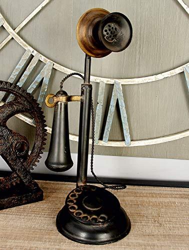 "Deco 79 13"" Vintage Iron Candlestick Decor Metal Antique Phone, One Size"