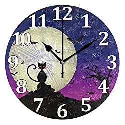 ATTX Cat Pattern Wall Clock Decorative Silent Non Ticking, Battery Operated Easy, for Home for Room