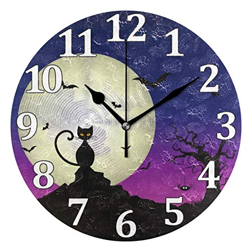 Cat Pattern Wall Clock Decorative Silent Non Ticking, Battery Operated Easy, for Home for Room