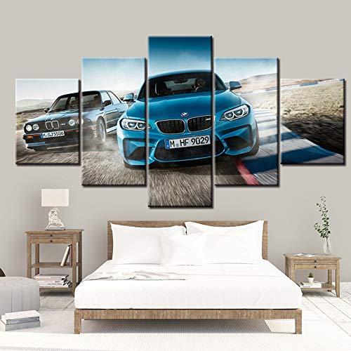 FJNS Cuadros de Arte de Pared Pinturas 5 Piezas HD BMW M3 Blue Sport Car Poster sobre Lienzo la Imagen Decoración para el hogar Sala de Estar Modular Enmarcado,A,20x30x220x40x220x50x1