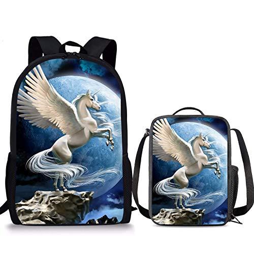 Sac à dos Pegasus blanc 2 pièces Boîte à déjeuner 43,2 cm Sac à déjeuner pour enfants Pour garçons filles et garçons