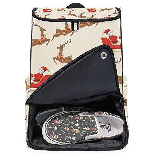 DEZIRO Reindeer Sled Santa Claus Travel Laptop Backpack Business Durable Laptops Backpack for Women & Men