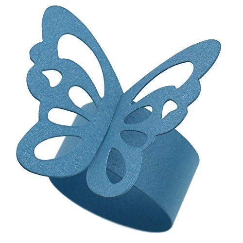 50er Schmetterlings Papier Serviette Ring Hochzeitsfest-Tabellen Deko Blau