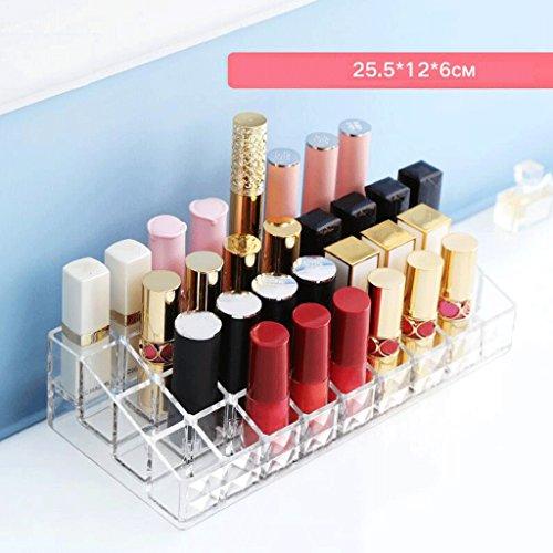 Étui de Maquillage Rétro Make Up Lipstick Présentoir Acrylique 36-Grille Organisateur Cosmétique Clear Storage Case Transparent Grand Diamètre Coiffeuse UOMUN