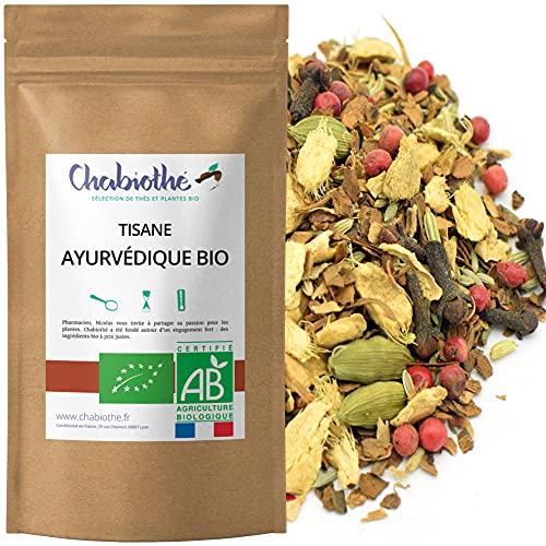 Chabiothé - Tisane Chaï Masala Ayurvédique Bio 200g - aux épices indiens - mélangé et conditionné en France - sachet biodégradable