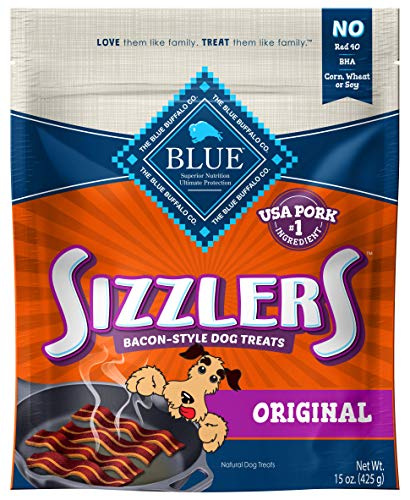 Blue Buffalo Sizzlers Natural Bacon-Style Soft-Moist Dog Treats, Original Pork 15-oz bag