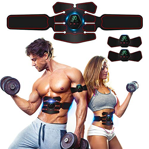 ROOTOK Elettrostimolatore Muscolare, EMS Suscolo Addominale,Ricarica USB ABS Trainer/Toner per Addome/Braccio/Vita/Gambe Home Gym